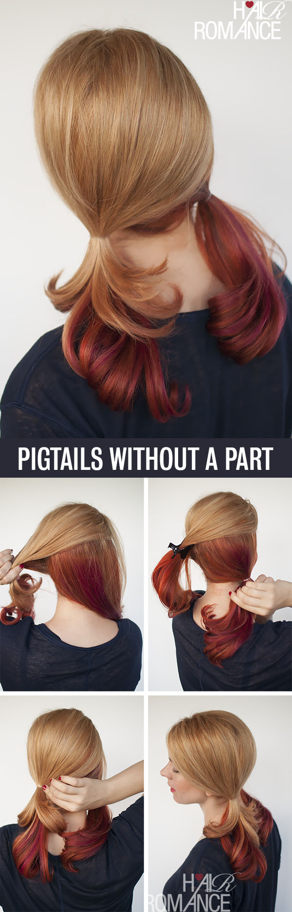Hair Romance - Hair tutorial for pigtails without a part