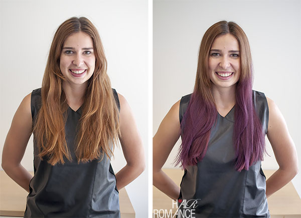 Hair Romance - before and after purple ombre hair