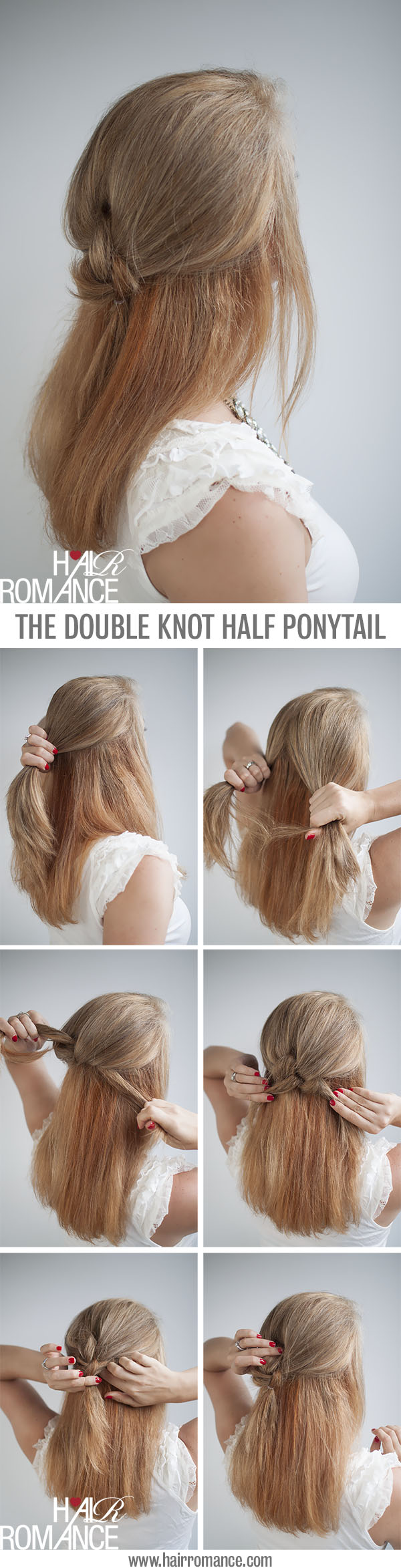 Knot Your Average Half Ponytail Hairstyle Tutorial Hair
