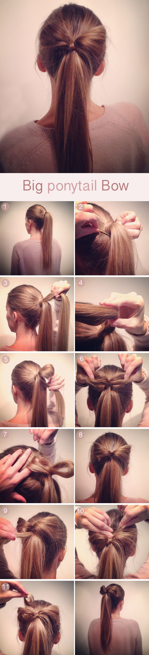 Big Ponytail Hair Bow hairtstyle tutorial