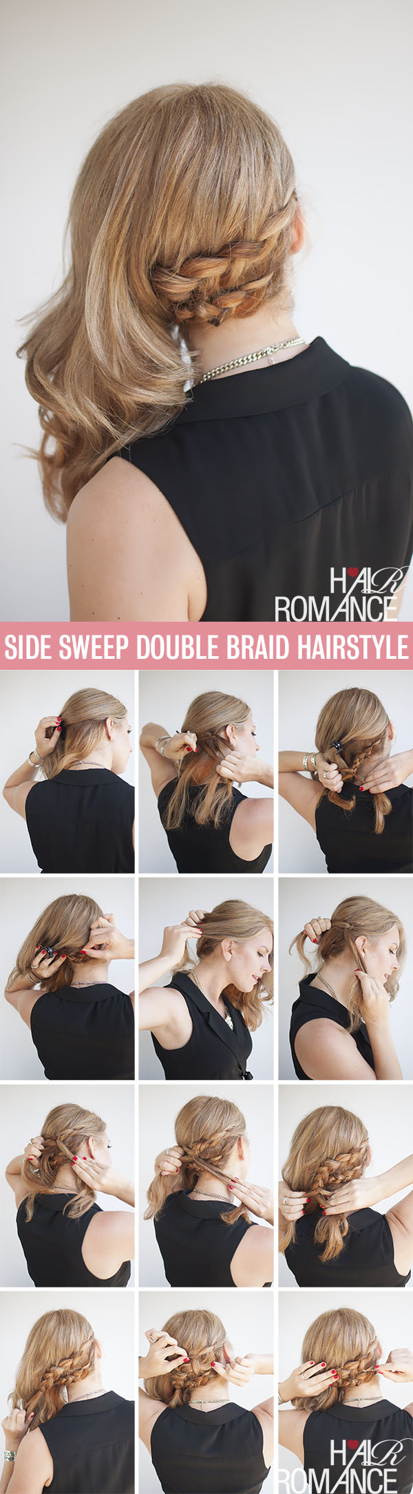 Hair Romance hairstyle tutorial - double braid side sweep hairstyle