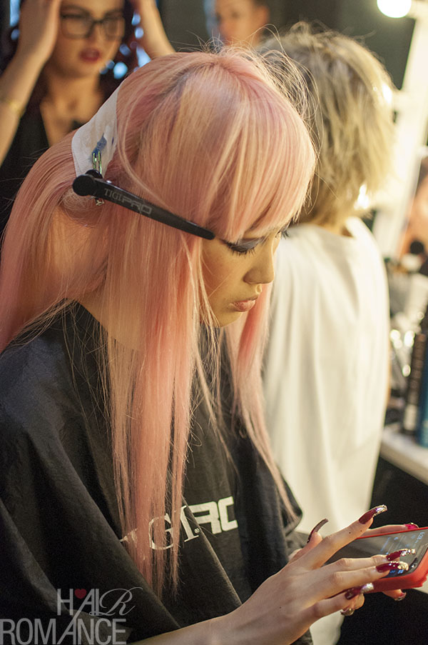 Hair Romance - Scenes from MBFWA 2014 Day 1 - candy pink hair
