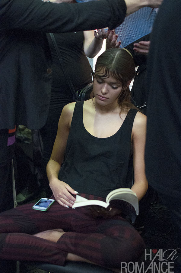 Hair Romance - Scenes from MBFWA 2014 Day 2 - Models reading books at Leroy Ngyuen