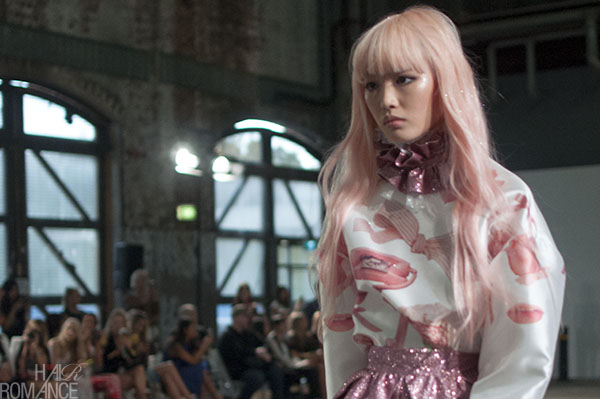 Hair Romance - Scenes from MBFWA 2014 Day 4 - Fernanda and her pink hair at Alice McCall