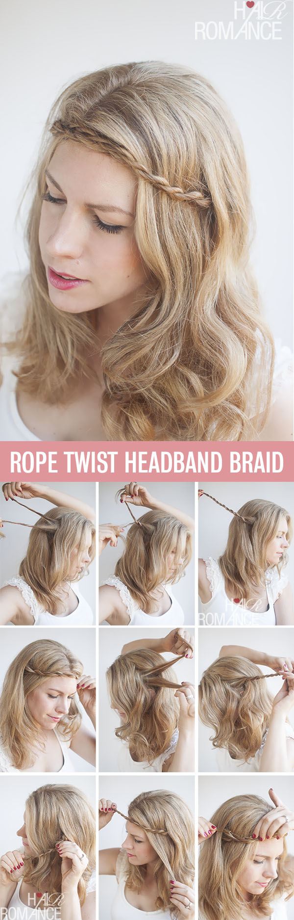 Hair Romance - rope braided headband tutorial