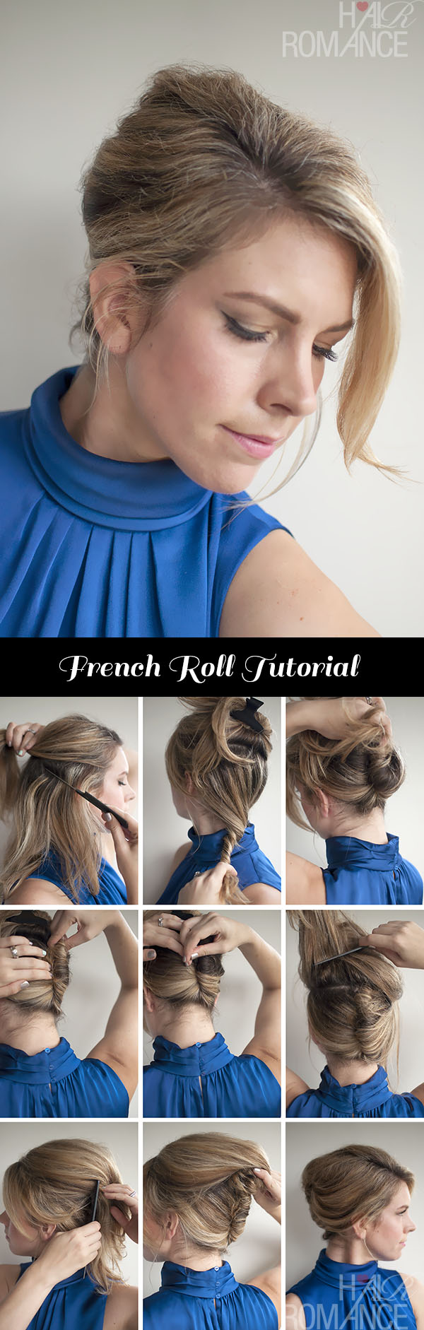 Vintage French Roll hairstyle tutorial - @HairRomance