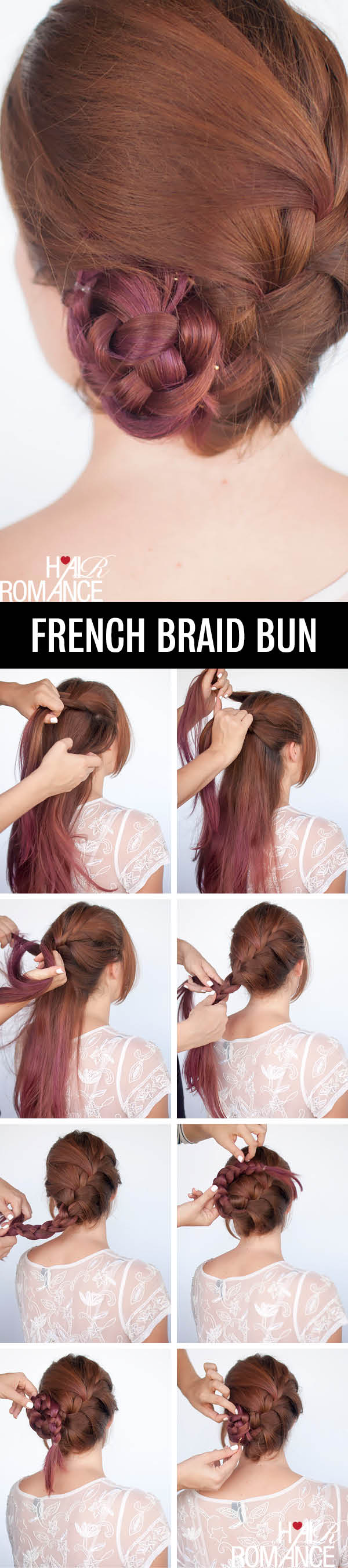 Hair Romance - French braid bun hairstyle tutorial
