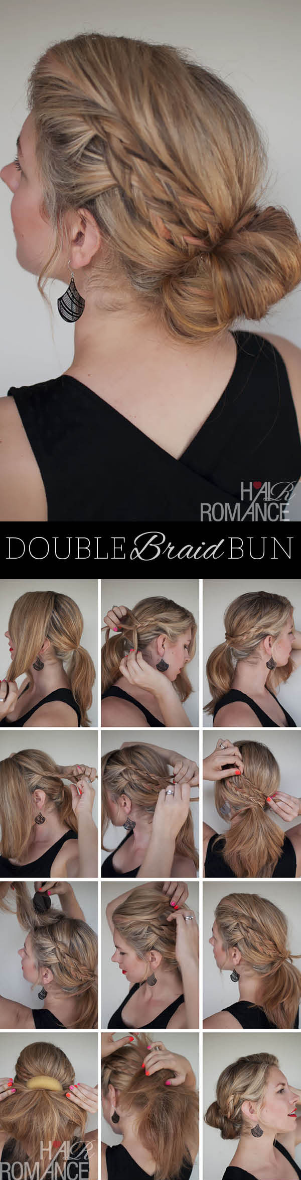 Hair Romance - the double braid bun hairstyle tutorial