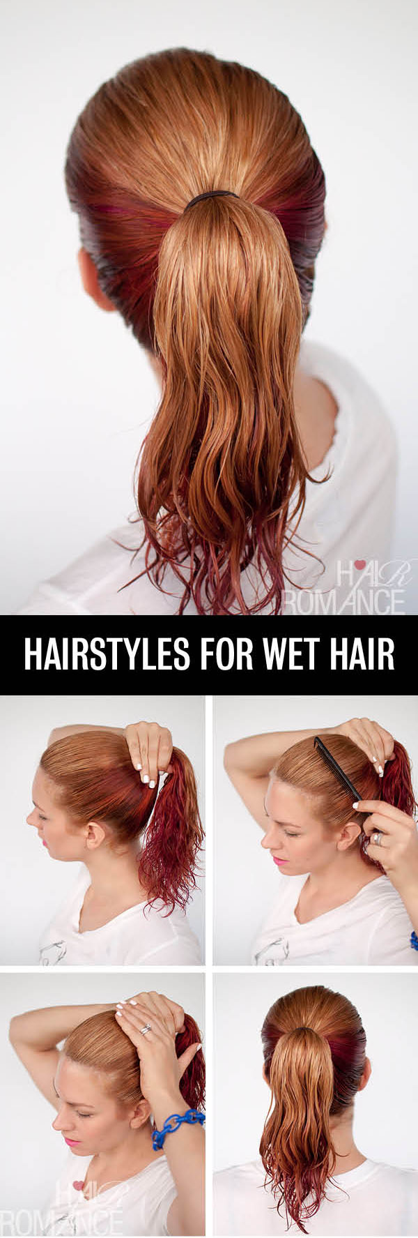 Hair Romance - Hairstyle tutorials for wet hair - the high ponytail