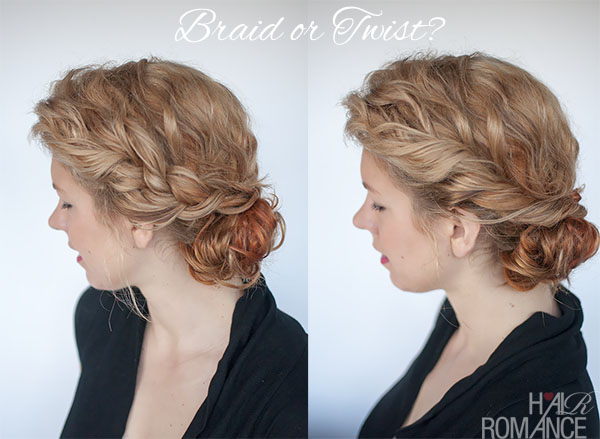 Hair Romance - braid or twist - curly bun hairstyle tutorial