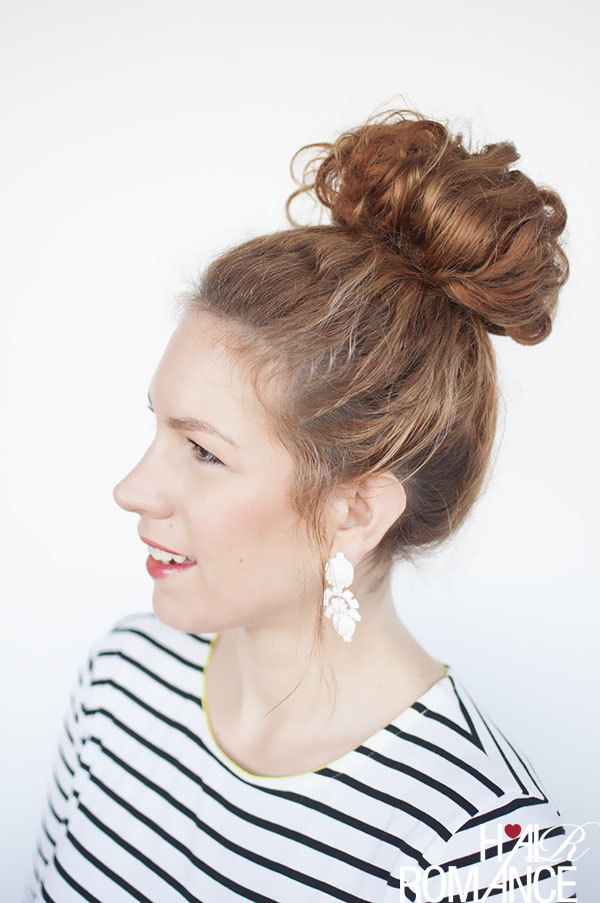 Hair Romance - how to style a curly top knot