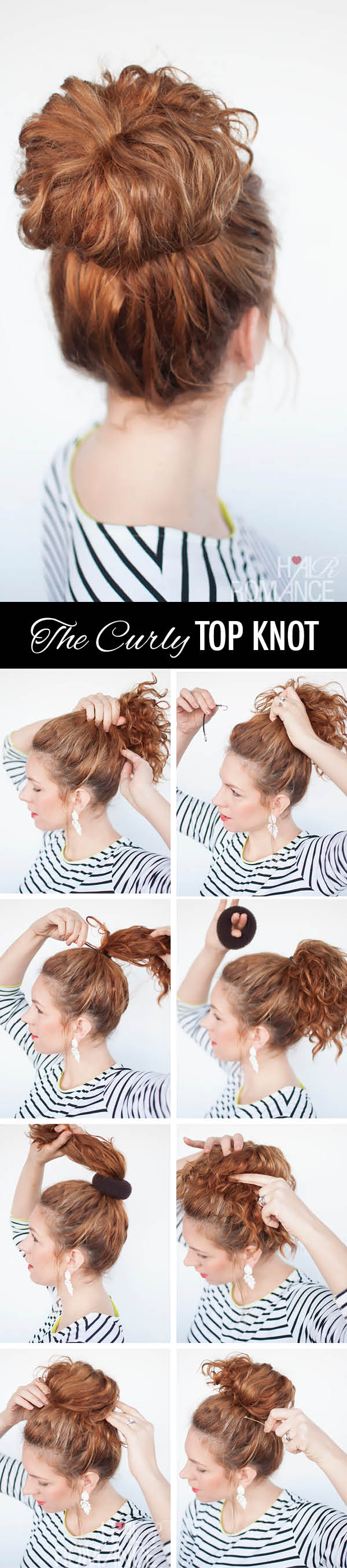 Hair Romance - the curly top knot hairstyle tutorial
