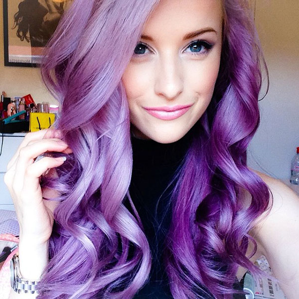 Big Hair Friday - INTHEFROW - purple curled hair