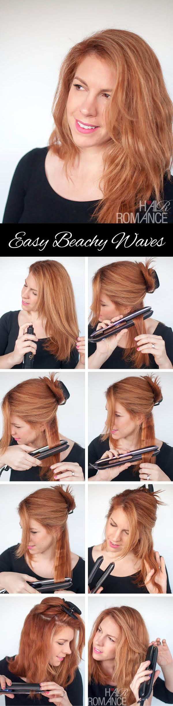 Hair Romance - easy how to beachy waves with ghd