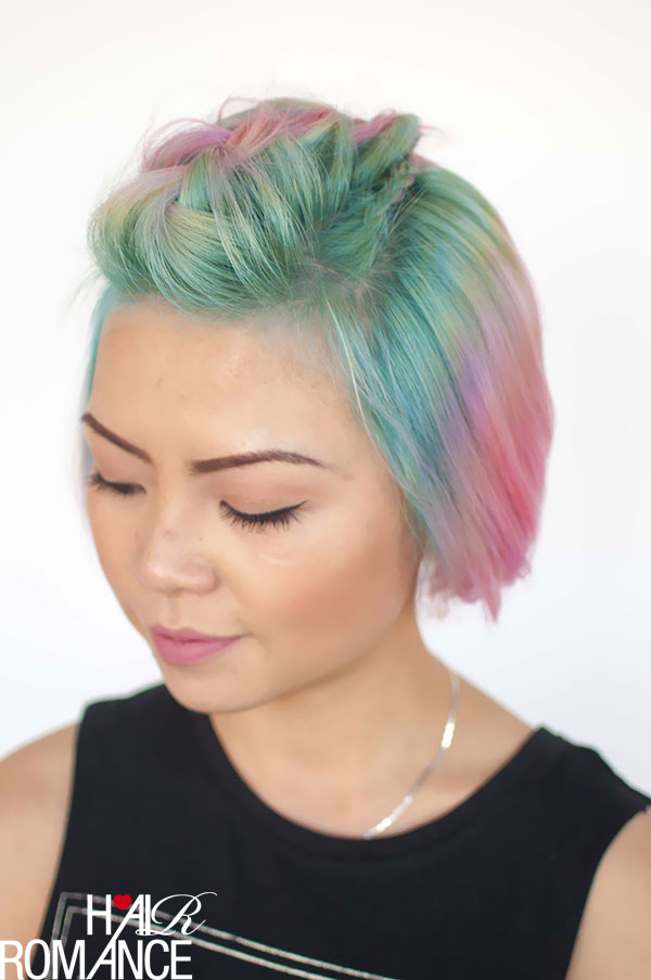 Hair Romance - Unicorn hair and faux hawk braids 2