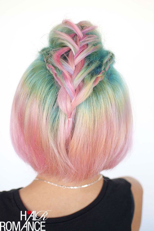 Hair Romance - Unicorn hair and faux hawk braids 3