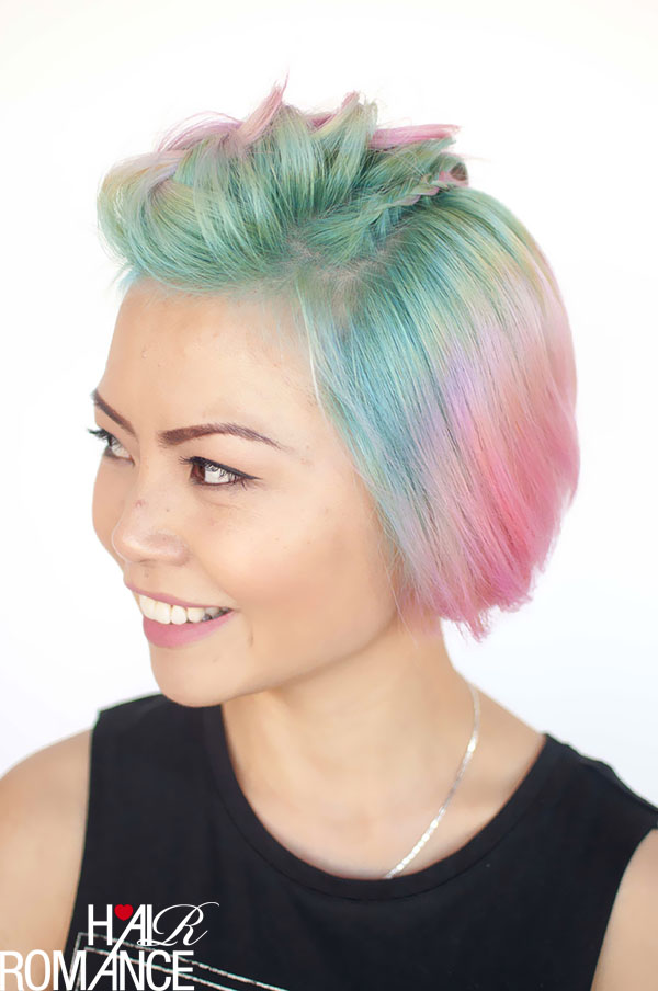 Hair Romance - Unicorn hair and faux hawk braids 4