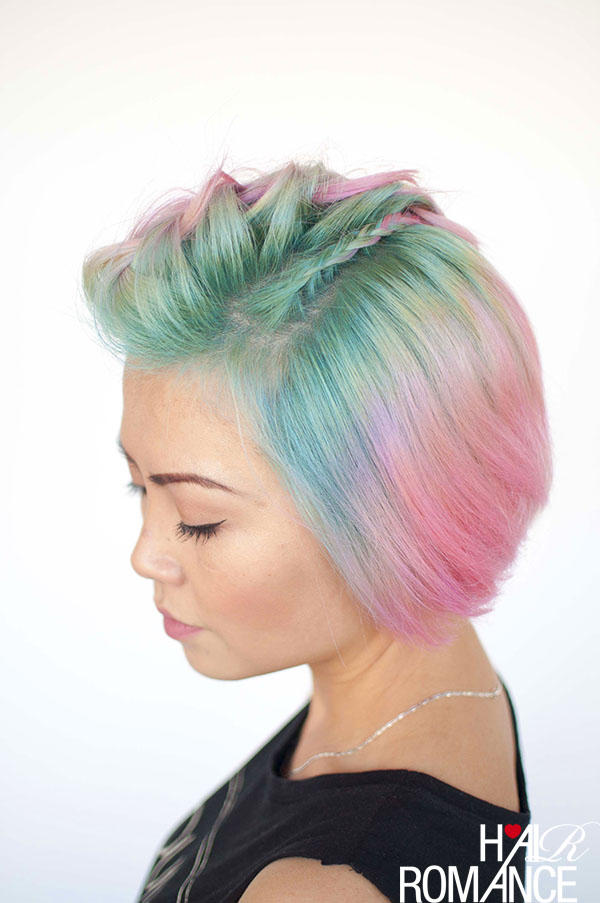 Hair Romance - Unicorn hair and faux hawk braids 5