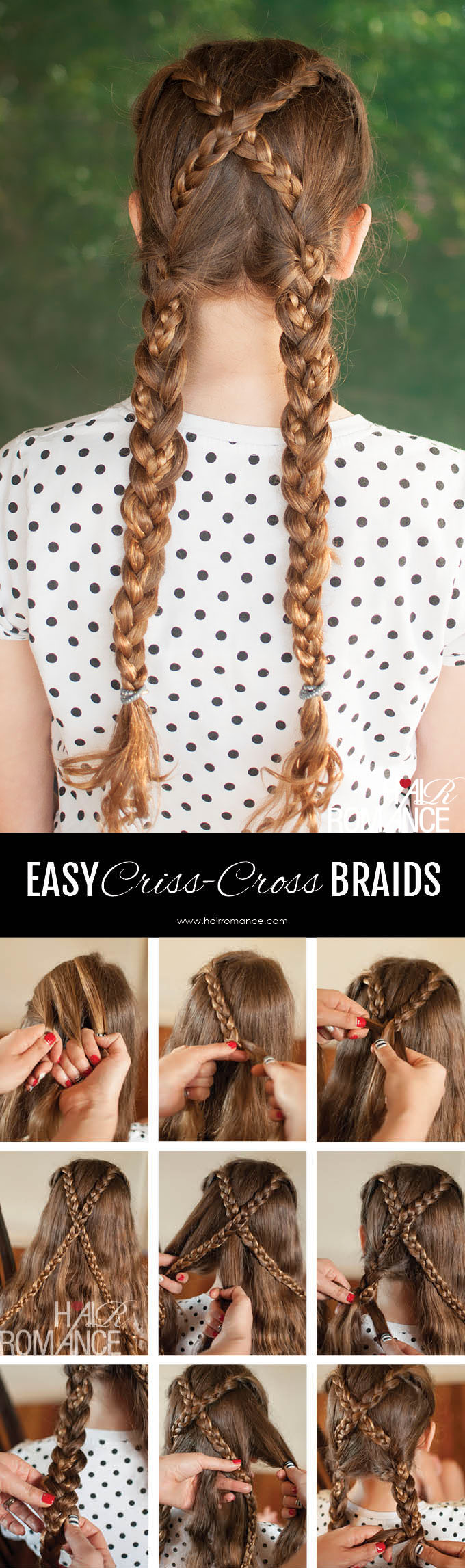 Hair Romance - Back to school hair - criss cross braids hairstyle tutorial 4