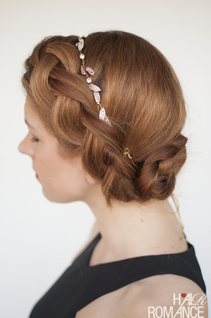 Hair Romance - Formal braided updo hairstyle tutorial with Jennifer Behr Eloise circlet