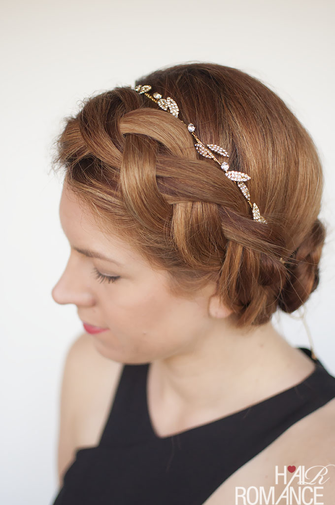 Hair Romance - Formal braided updo hairstyle tutorial with Jennifer Behr headband