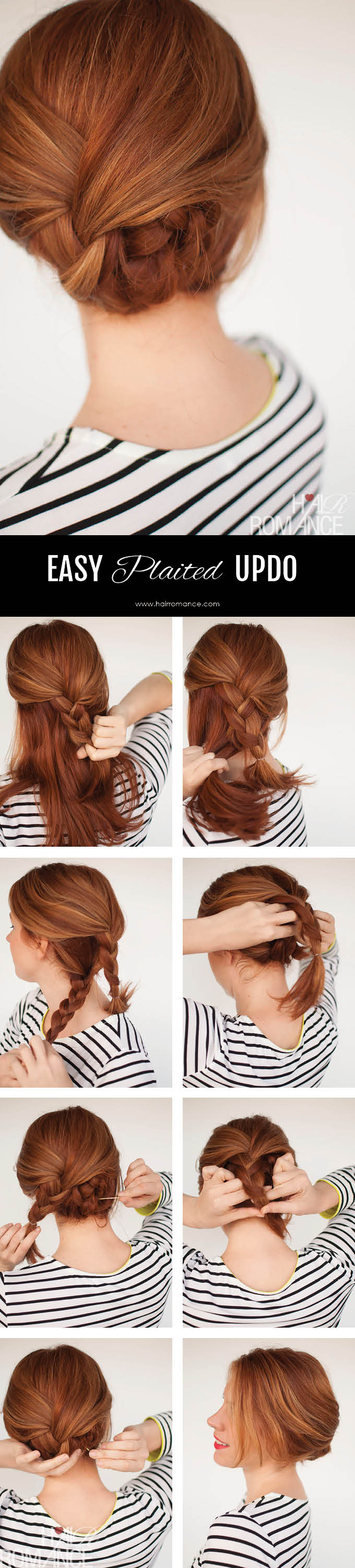 Hair Romance - easy plaited updo hairstyle tutorial - Click through for full tutorial