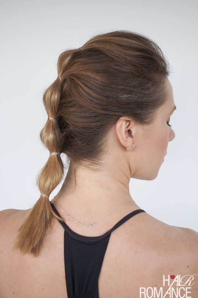 Hair Romance - gym workout hairstyle tutoral - bubble ponytail side
