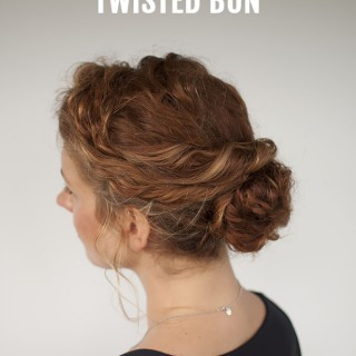 Curly hair tutorial – Easy twisted bun hairstyle