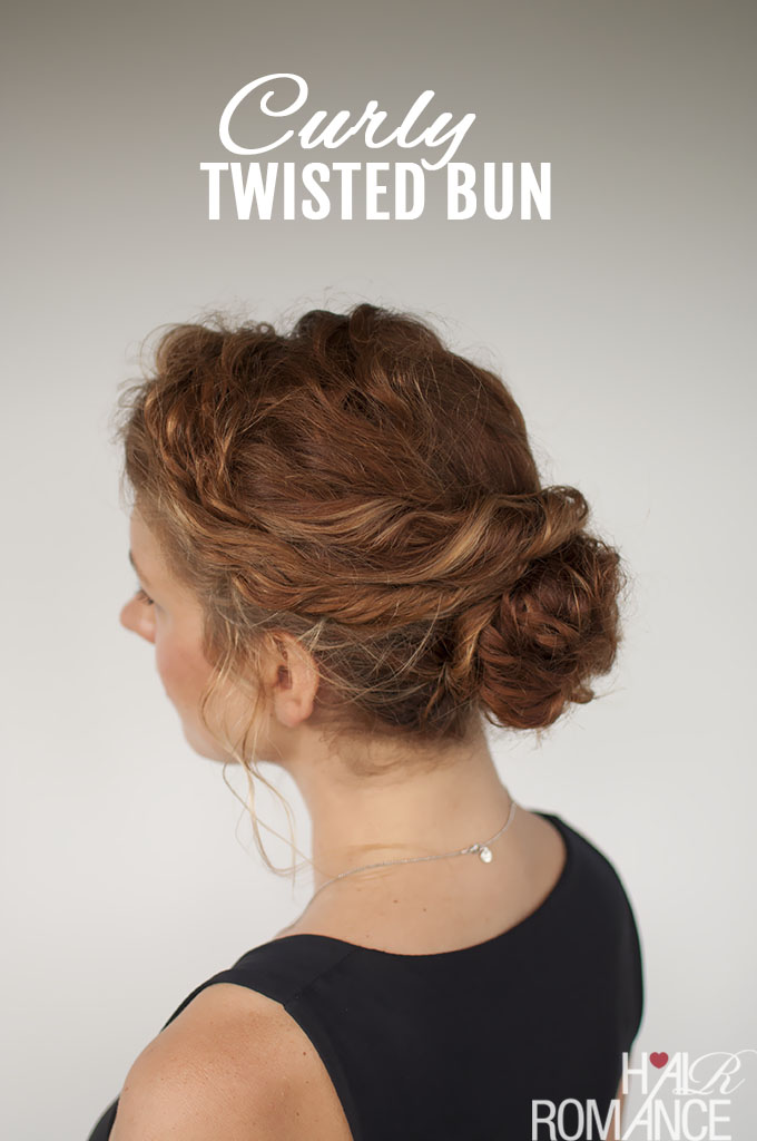 Curly Hair Tutorial Easy Twisted Bun Hairstyle Hair Romance