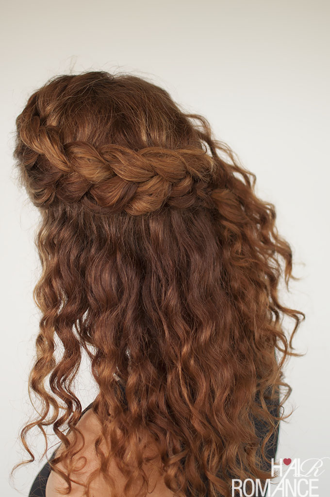 Curly hair tutorial , the half,up braid hairstyle , Hair Romance
