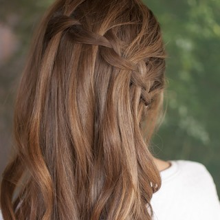 Vertical waterfall braid hairstyle tutorial