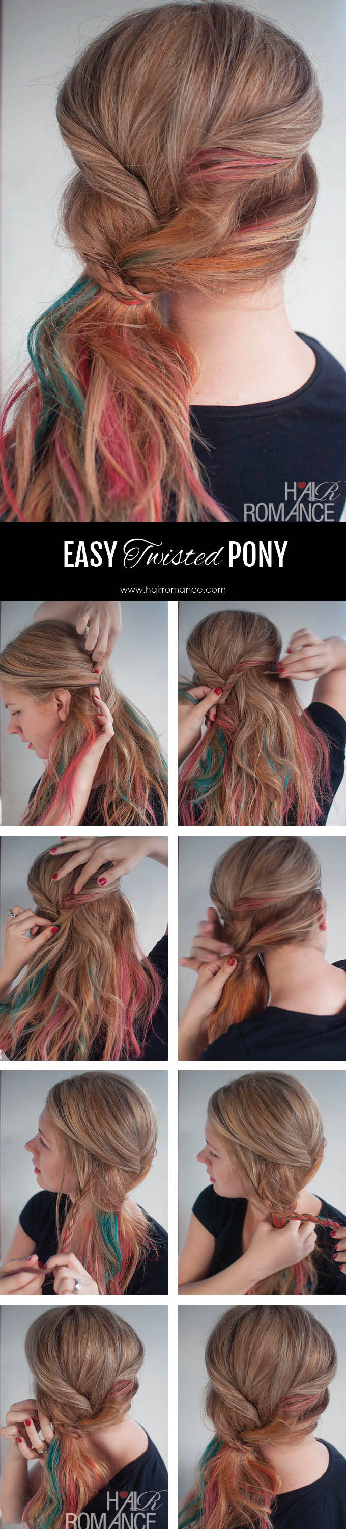 Hair Romance - easy twisted ponytail hairstyle tutorial - click through for instructions