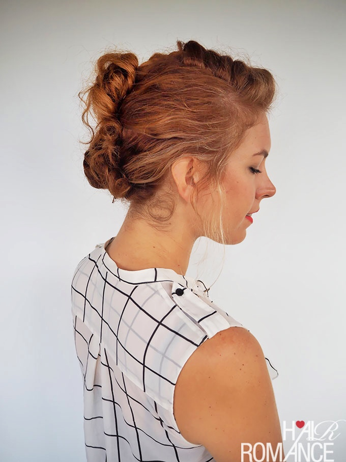 Hair Romance - #gingertwin - mohawk French braid updo