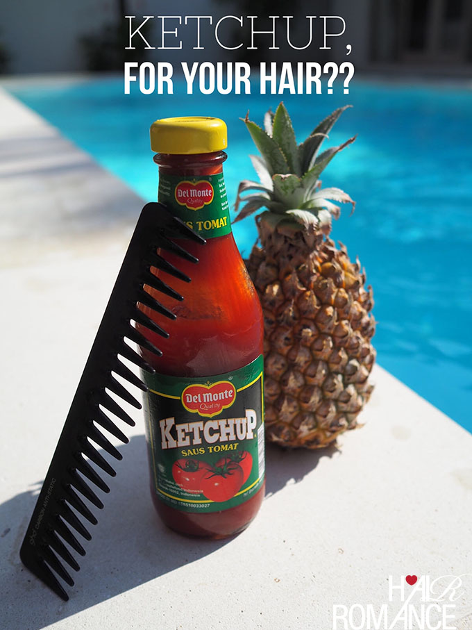 Hair Romance - how to stop blonde hair from going green in the pool with ketchup
