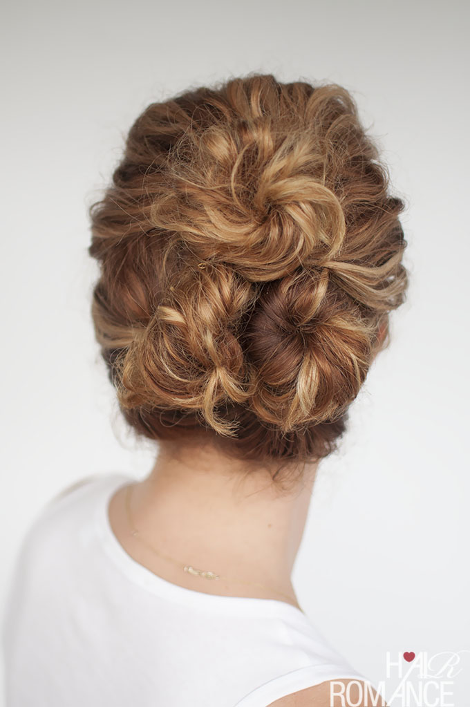 Hair Romance - Easy everyday curly hairstyle tutorials – the curly triple bun 2