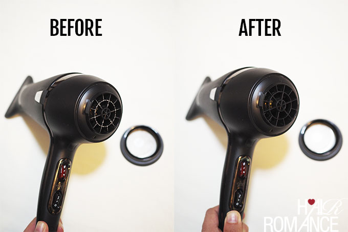 Hair Romance - How to clean your hairdryer - Before After