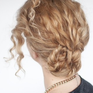 Easy curly braided bun tutorial