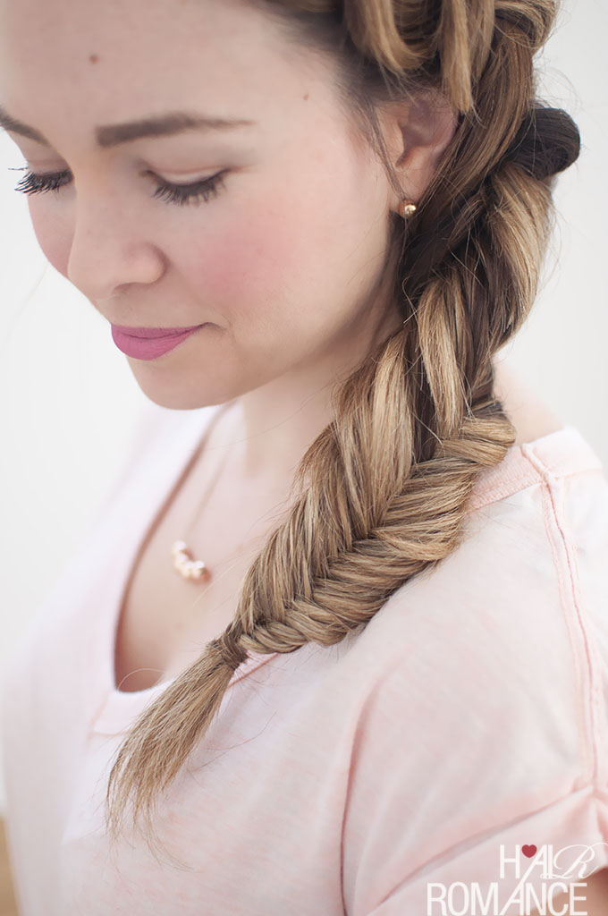 Hair Romance - Dutch fishtail combo side braid tutorial