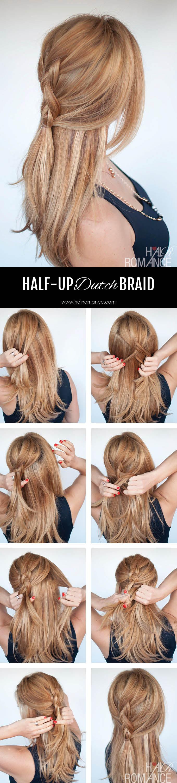 Hair Romance - Easy everyday hair - half-up Dutch Braid Tutorial