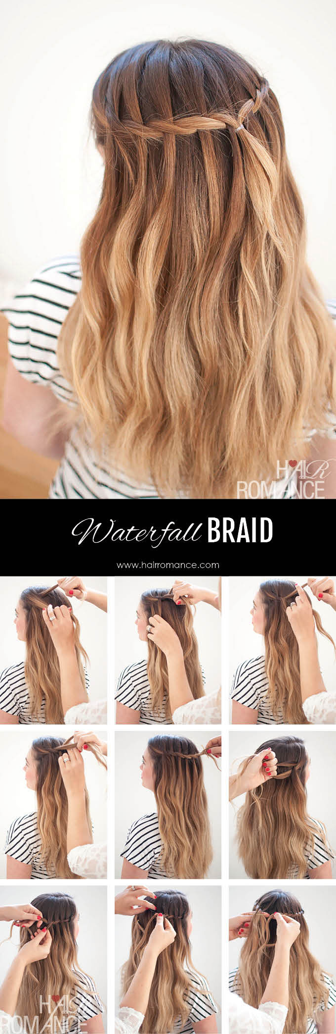 Hair Romance - Waterfall Braid Tutorial for Long Hair