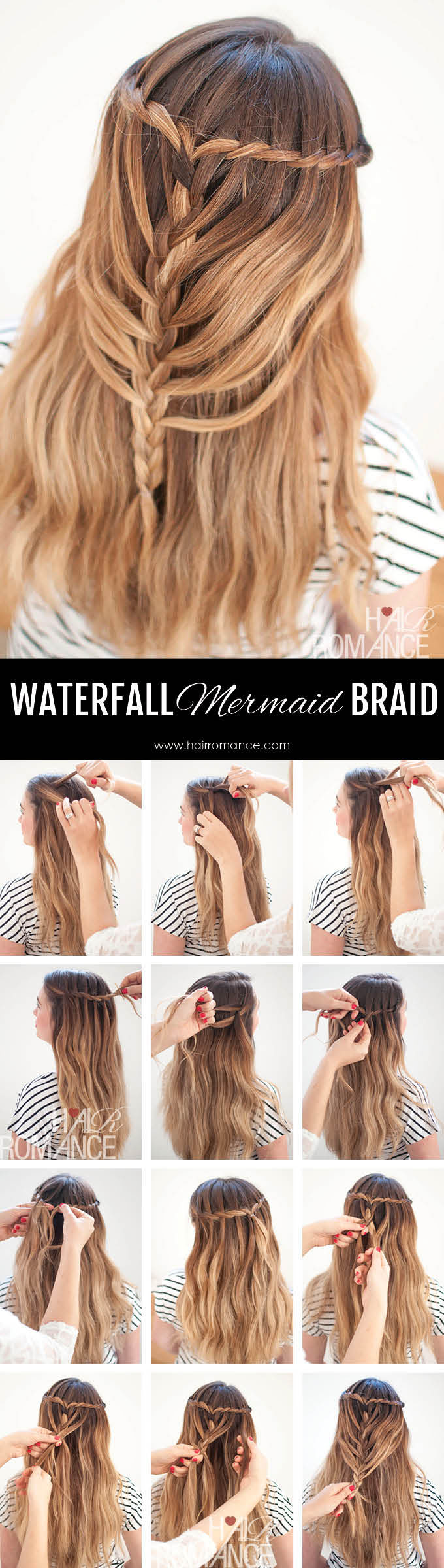 Hair Romance - Waterfall Mermaid Braid Tutorial for Long Hair