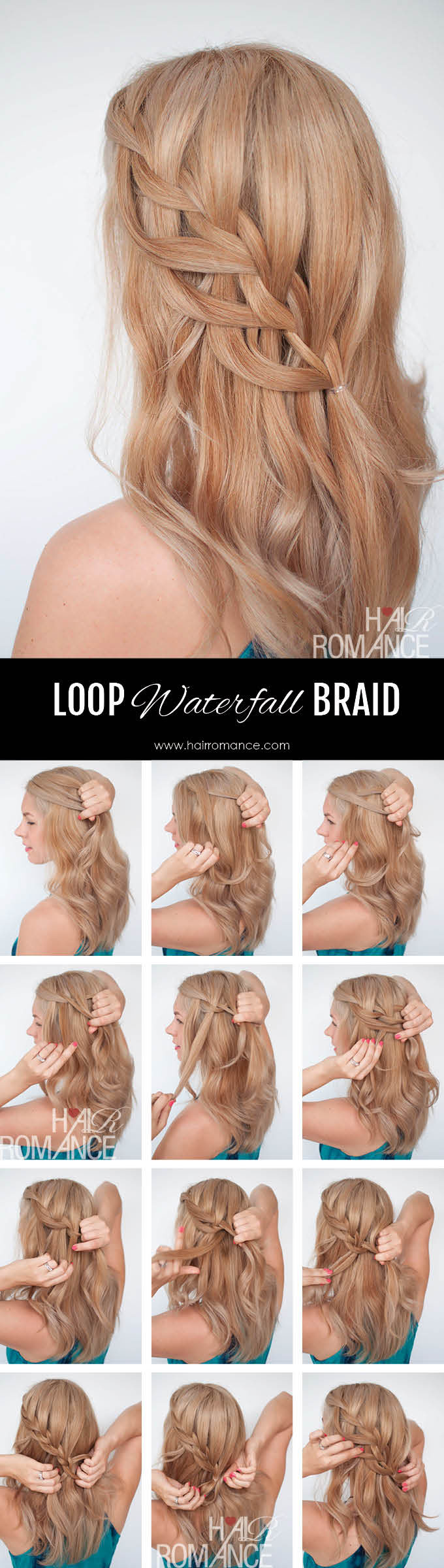 Hair Romance - Loop waterfall braid tutorial