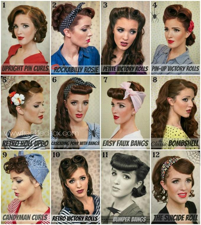 Halloween hair - retro vintage hairstyle tutorials bu The Freckled Fox