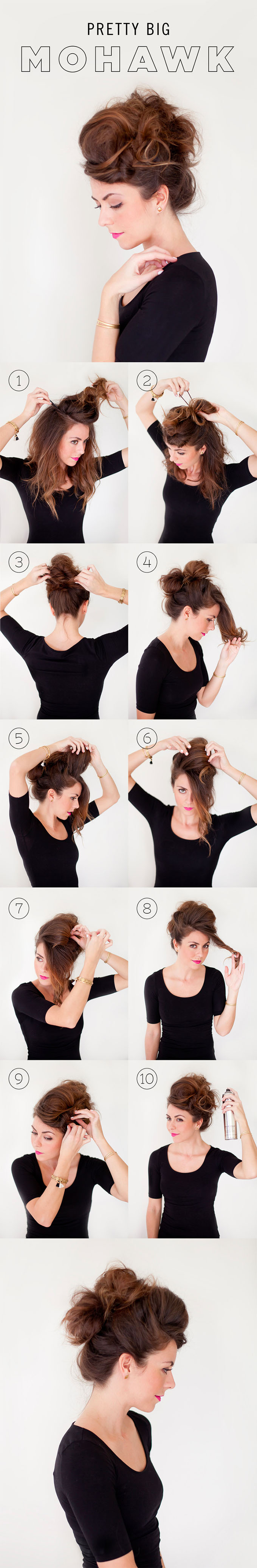 Halloween hairstyles - big mohawk hair tutorial