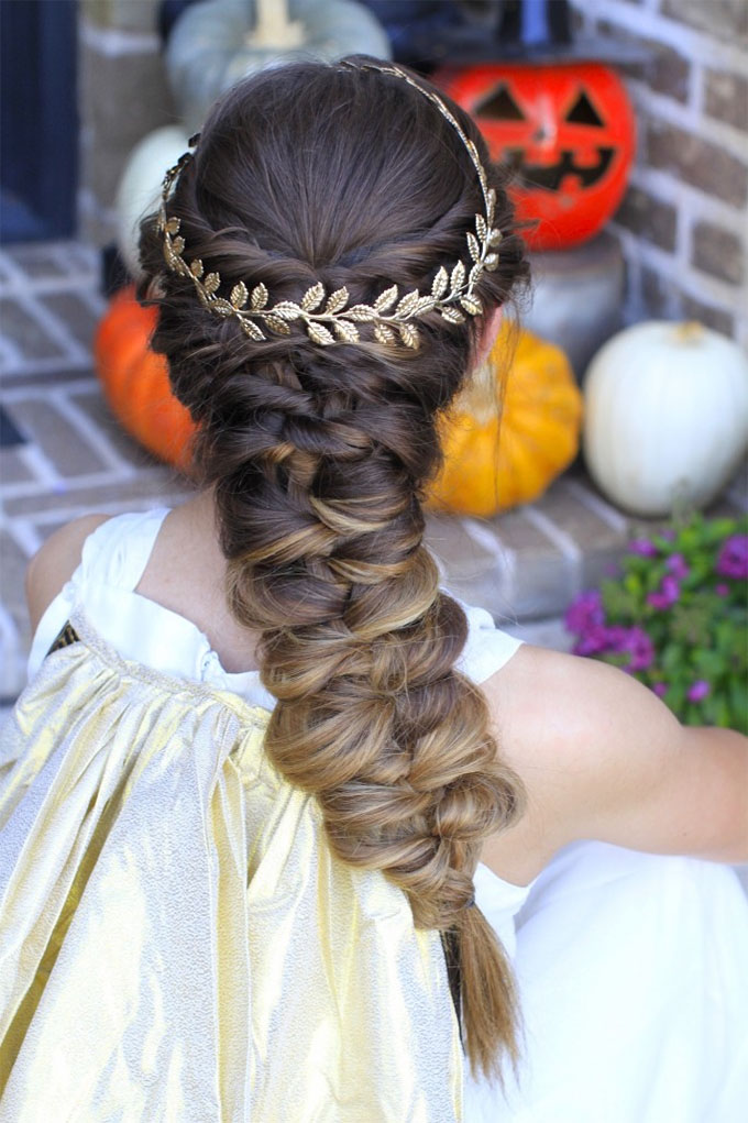 Halloween hairstyles - twist faux braid hair tutorial