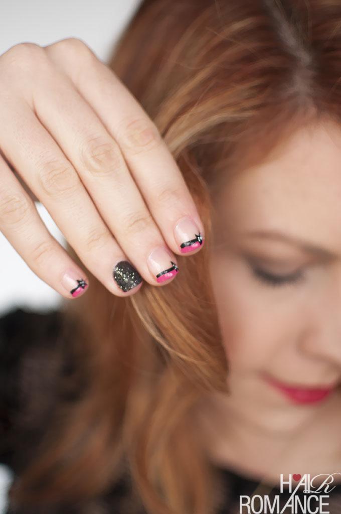 Hair Romance - Glitter and bows easy nail art tutorial