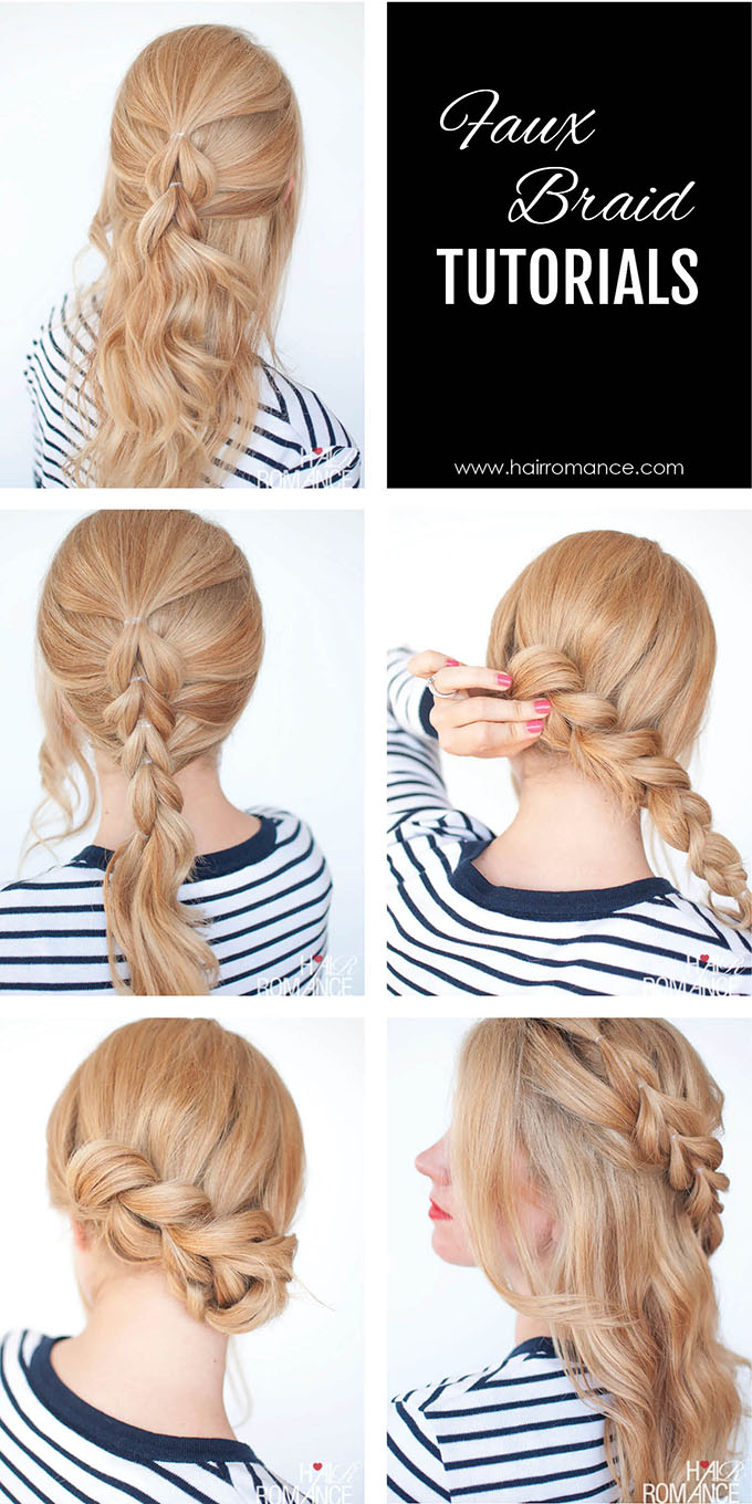 Hair Romance - 5 Easy faux braid tutorials