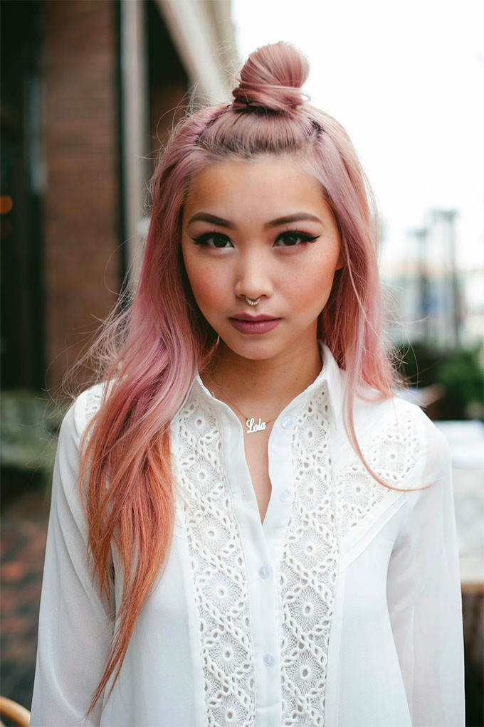 Rose Quartz hair inspiration - top knots
