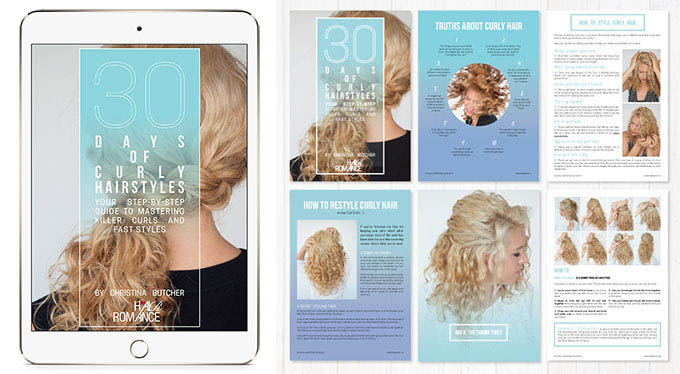 30 Days of Curly hairstyles ebook flatlay