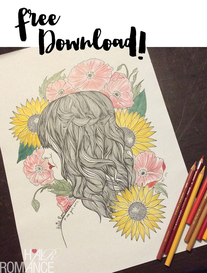 Hair Romance - Free coloring in download - free colouring in download